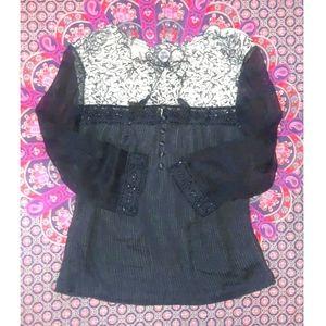 Vintage Silk Beaded & Tassels Peasant Boho Blouse